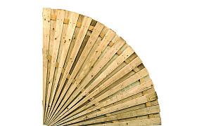 W10017 Waaierscherm dubbelzijdig vuren 180 x 180 cm, kwart rond.